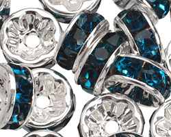 Silver (plated) Teal Rhinestone Rondelle 8mm