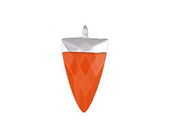 Coral (syn.) Faceted Triangle Pendant w/ Silver Finish 13x24mm