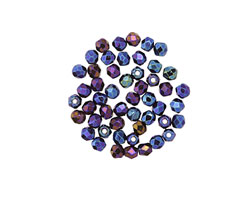 Czech Fire Polished Glass Iris Blue Round 2mm
