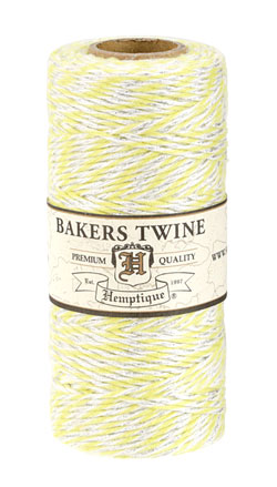 Yellow/White & Metallic Silver Bakers Twine 2 ply, 410 ft