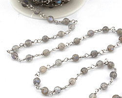 Labradorite Faceted Round 5mm Silver Finish Bead Chain