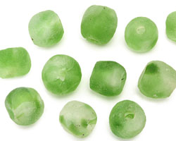 African Recycled Glass Spring Green Tumbled Round 10-14mm