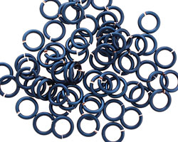 Blue Enameled Copper Round Jump Ring 6mm, 18 gauge