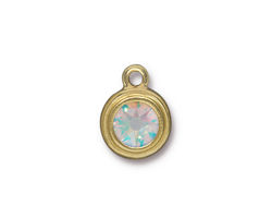 TierraCast Gold (plated) Stepped Bezel Drop w/ Crystal AB 12x17mm