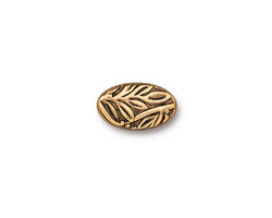 TierraCast Antique Gold (plated) Botanical Leaf Bead 13x8mm