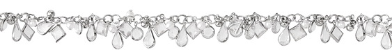 Silver (Plated) Crystal Mix Jewel Drop Chain