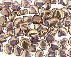 Matubo Czech Glass Bronze Crystal 2-Hole Ginkgo Leaf 7.5mm