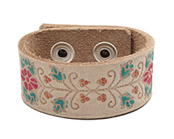 """Hand Painted Natural Floral Vine Print Leather Cuff 1 1/16"""""""