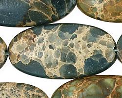Blue Impression Jasper Flat Oval 40x20mm