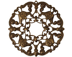 Vintaj Natural Brass Ornate Wreath Filigree 48mm