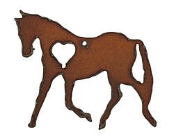 The Lipstick Ranch Rusted Iron Heart Horse Pendant 52x50mm