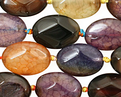 Rainbow Snakeskin Agate Faceted Flat Oval 18x13mm