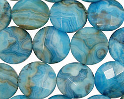 Larimar Blue Crazy Lace Faceted Coin 14mm