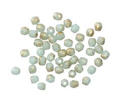 Czech Fire Polished Glass Mint w/ Gold Round 3mm