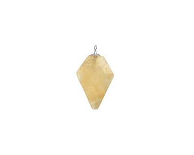 Citrine Faceted Arrow Pendant w/ Silver Finish 11-12x19-20mm