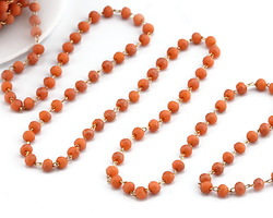 Coral (Matte) Crystal 3mm Delicate Brass Bead Chain