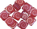Czech Glass Laser Etched Ammonite on Matte Cranberry w/ Rainbow Finish Puff Square 10mm