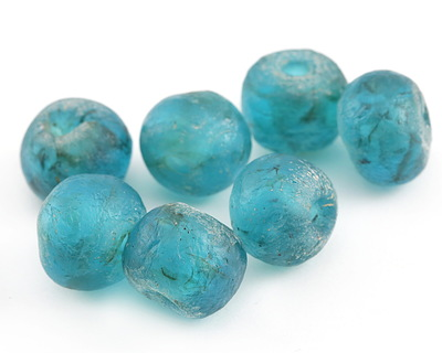 African Recycled Glass Turquoise Tumbled Rondelle 15-18x18-21mm