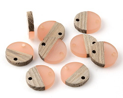 Wood & Blossom Resin Coin Link Focal 15mm