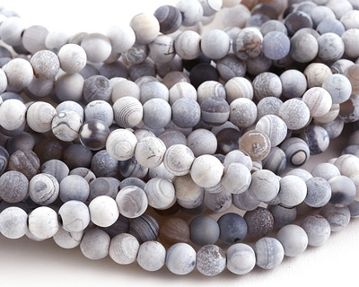 White & Blue Agate (matte) Round 6mm