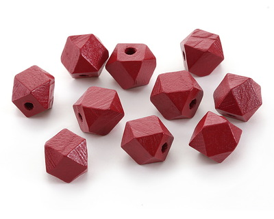 Barn Red Wood Faceted Nugget 14mm