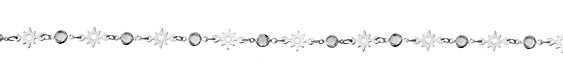 Zola Elements Radiant Sun & Clear Crystals Round Link Imitation Rhodium (plated) Chain