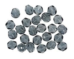 Czech Fire Polished Glass Montana Blue Round 6mm