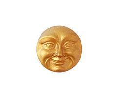 Czech Glass Matte Golden Moon Face Button 17mm