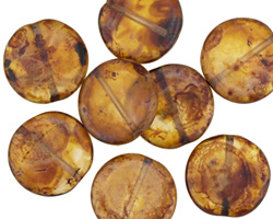 Czech Glass Matte Glowing Amber Coin 14mm