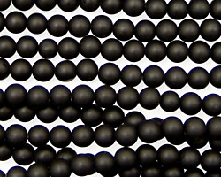 Brazil Black Stone (matte-finish) Round 4mm
