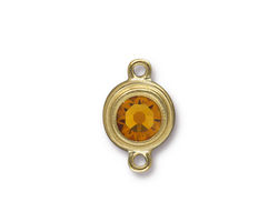 TierraCast Gold (plated) Stepped Bezel Link w/ Topaz Crystal 12x17mm