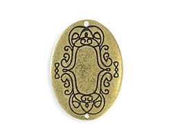 Vintaj Antique Brass (plated) Scrolled Border Oval Blank 26x35mm