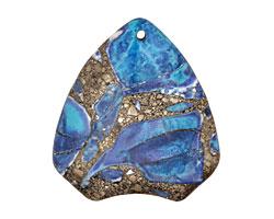 Blue Agate & Pyrite Arrowhead Pendant 40x44mm