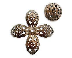 Vintaj Natural Brass Ornate Filigree Bead 20mm