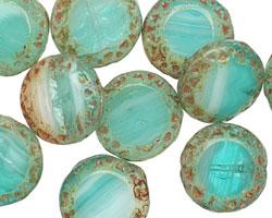 Czech Glass Beach Glass Picasso Tribal Coin 16mm