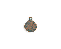 Vintaj Copper Verdigris (plated) Hammered Circle 13x15mm
