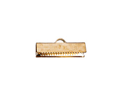 Rose Gold (plated) Basket Weave Ribbon Crimp End 20mm