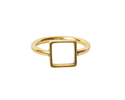 Nunn Design Antique Gold (plated) Open Frame Itsy Square Ring Size 8