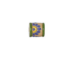 Golem Studio Blue Daisies Carved Ceramic Tube Bead 12x10.5mm