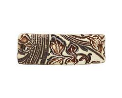 Earthenwood Studio Ceramic Oxidation Floral Scroll Bracelet Bar 44-46x15-16mm