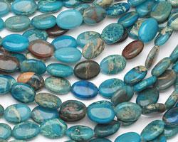 Turquoise Impression Jasper Flat Oval 14x10mm