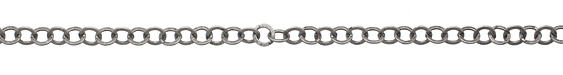 Antique Silver (plated) Flat Ring Cable Chain 8mm