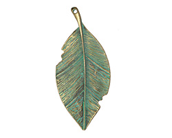Zola Elements Patina Green Brass Tattered Leaf Pendant 36x81mm