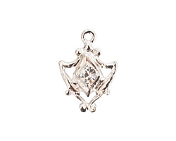 Nunn Design Sterling Silver (plated) Medallion Crystal Charm 15x20mm