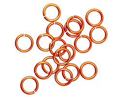 Orange Anodized Aluminum Jump Ring (Saw Cut) 6mm, 20 gauge (4.1mm inside diameter)