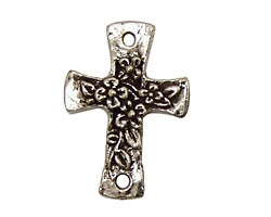 Green Girl Pewter Floral Cross Link 22x31mm