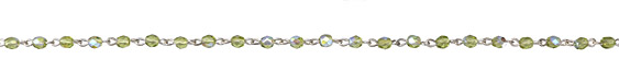 Czech Fire Polished 4mm Olivine AB Faceted Round Silver (plated) Bead Chain