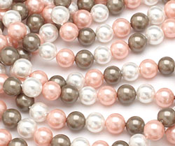 Fawn Shell Pearl Mix Round 6mm
