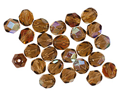 Czech Fire Polished Glass Smoky Topaz AB Round 6mm