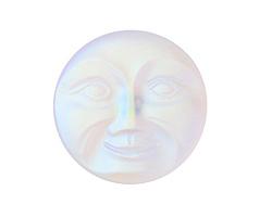Czech Glass Matte Crystal AB Moon Face Button 32mm